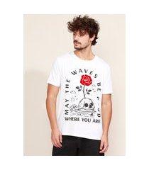 camiseta masculina caveira e flor flocada manga curta gola careca branca