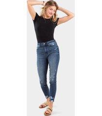 bella distressed high rise skinny jeans - dark