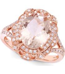blush by effy morganite (3-1/8 ct. t.w.) and diamond (1/4 ct. t.w.) oval ring in 14k rose gold