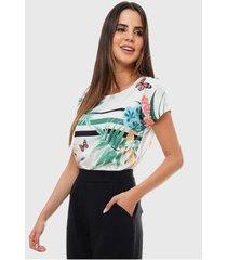 blusa estampada floral e listras sob feminina - feminino
