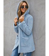 yoins con capucha diseño abrigo de manga larga con dos bolsillos grandes