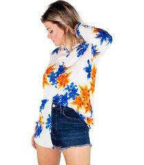 camisa manga longa modisch flowers - kanui