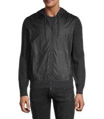 naadam men's mixed media zip-front hoodie - navy - size xl