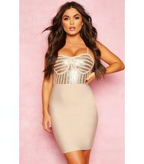 boutique bandage sequin cupped detail mini dress, stone