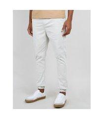 calça de sarja masculina jogger skinny cinza mescla claro