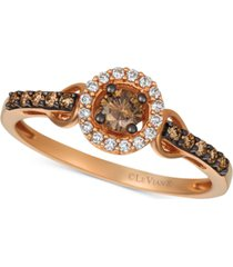 le vian chocolatier diamond halo cluster ring (1/3 ct. t.w.) in 14k rose gold