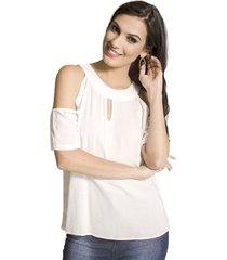 blusa recortes viscose handbook feminino