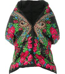 moncler grenoble floral print padded cape - black