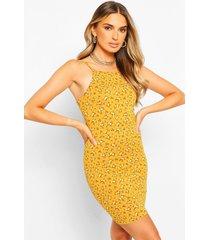 floral print strappy high neck bodycon mini dress, mustard