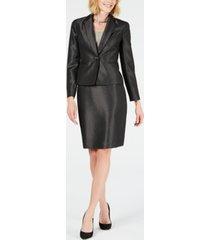 le suit shiny one-button pin-dot skirt suit