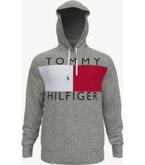 tommy hilfiger men's essential logo hoodie grey heather - xxl