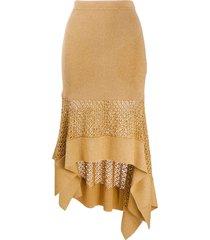 alexander mcqueen metallic-thread asymmetric knitted skirt - gold