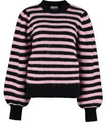 ganni striped crew-neck sweater