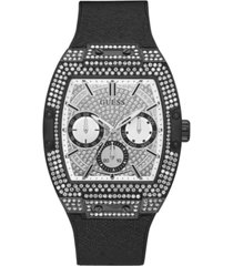guess men's black crystal leather and silicone flex strap watch 43x51mm