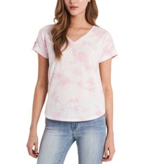 vince camuto tie-dyed roll-tab-sleeve v-neck top