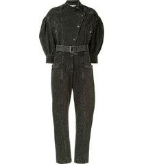 sea belted denim jumpsuit - graphite