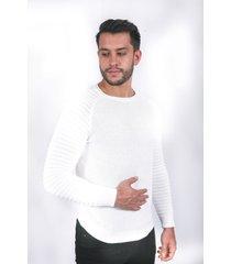 suéter para hombre tejido doble blanco