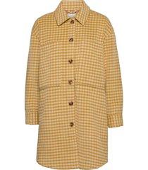 nubriella coat wollen jas lange jas geel nümph