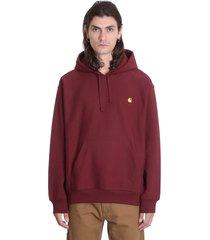 carhartt hooded america sweatshirt in bordeaux cotton