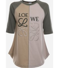 loewe color-block t-shirt with asymmetrical embroidery