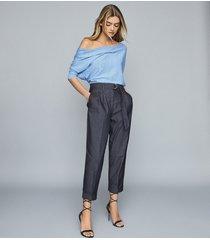 reiss flo - linen cotton blend asymmetric top in blue, womens, size xl