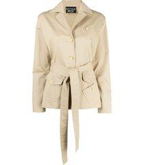 boutique moschino multi-pocket belted jacket - neutrals