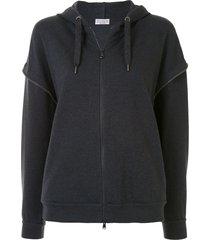 brunello cucinelli beaded-edge zip-up hoodie - grey