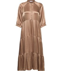 long dress w. 3/4 sleeves dresses everyday dresses beige coster copenhagen