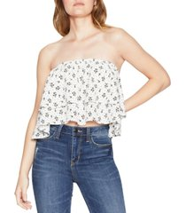bcbgeneration tiered strapless floral-print top