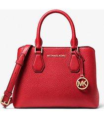 mk borsa a mano camille piccola in pelle martellata - rosso brillante (rosso) - michael kors