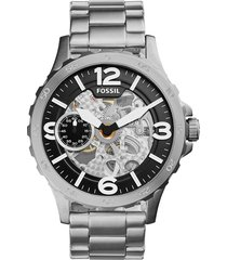 reloj  fossil nate hand-wound mechanical stainless steel watch me3129 hombre