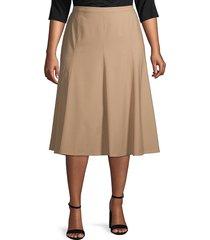 lafayette 148 new york women's plus wool-blend midi skirt - nu blue - size 16w