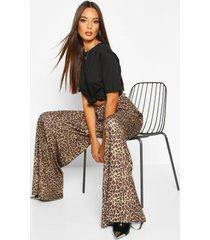 super flare broek met wijde pijpen en luipaardprint, geelbruin