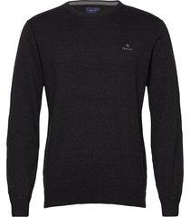 classic cotton c-neck stickad tröja m. rund krage svart gant