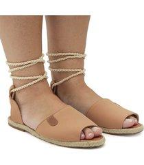 sandalia gladiadora nobuk bege