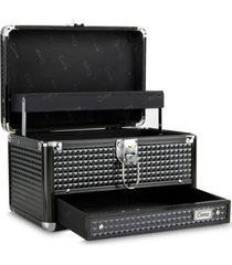 maleta de maquiagem média cisne alumínio reforçada preta