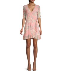 sanctuary women's floral mini wrap dress - pink - size l