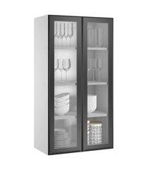 armário cristaleira itatiaia exclusive 2 portas de vidro preto matt