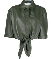 off-white leather bow baseball shirt - green