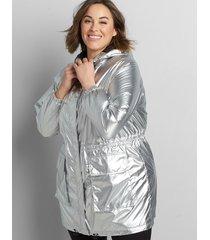 lane bryant women's metallic cinched-waist parka 22/24p silvertone
