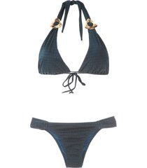 brigitte lace-up swimsuit - blue
