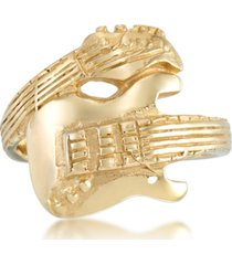 andrew charles by andy hilfiger men's guitar ring in yellow ion-plated stainless steel
