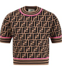fendi brown sweater for girl with double ff