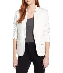 women's gibson notch collar cotton blend blazer, size large - ivory