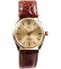 rolex oyster perpetual brown crocodile 14k gold watch men's gold sz: