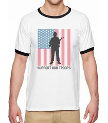 support our troops men's white ringer tee new sizes s-2xl