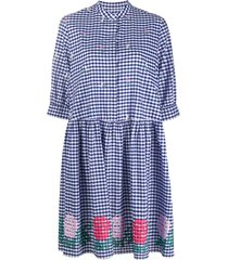weekend max mara embroidered smock dress - blue