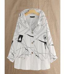 blusa taglia plus con cappuccio stampa astratta casual
