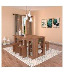 conjunto de mesa de cozinha com 4 bancos | banquetas regina montana  140 cm