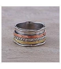 copper and brass accented sterling silver spinner ring, 'spinning trio' (india)